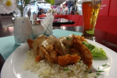 'Italian chicken' and a large beer at the market hall